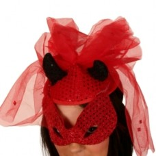 Hat & Mask Sequin Red