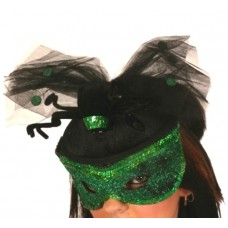 Hat & Mask Sequin Green