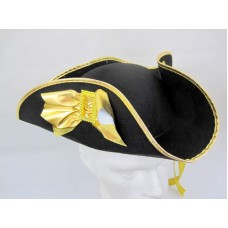 Hat Tricorn Felt Black & Gold