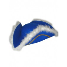 Hat Tricorn Felt Blue wiith feather Edge