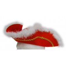 Hat Tricorn Felt Red wiith feather Edge