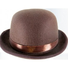 Bowler Hat Felt Brown one size fits all