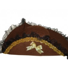 Hat Tricorn Felt Old Brown & Gold Braid