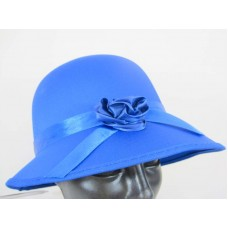 Hat Bonnet Satin for Lady 1920s Blue