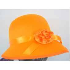 Hat Bonnet Satin for Lady 1920s Orange