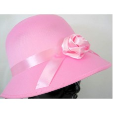 Hat Bonnet Satin for Lady 1920s Pink