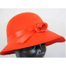 Hat Bonnet Satin for Lady 1920s Red