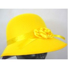 Hat Bonnet Satin for Lady 1920s Yellow