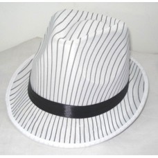 Trilby Hat Stripes White with Black