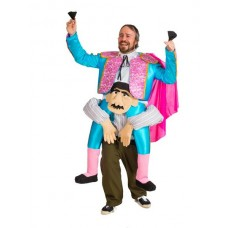 Costume Bull Fighter on Mans Shoulders