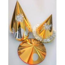 Foil Party Hats Asstd Shapes Gold 50s