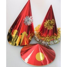 Foil Party Hats Asstd Shapes Red 50s