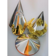 Foil Party Hats Asstd Shapes Silver 50s