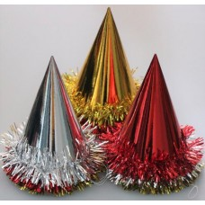 Foil Party Hats Cone & Tinsel Asstd 100'