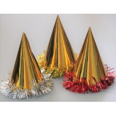 Foil Party Hats Cone & Tinsel Gold 100's
