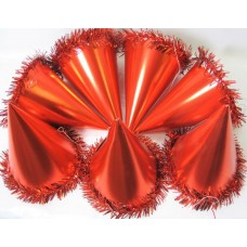Foil Party Hats Cone & Tinsel Red 100's