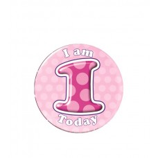 Badge Happy Birthday Age 1 - Girl 15cm