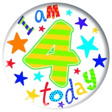 Badge 15cm Happy Birthday Age 4 Boy
