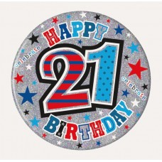 Badge 15cm Happy Birthday Age 21 Male