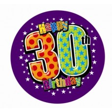 Badge 15cm Happy Birthday Age 30 Male