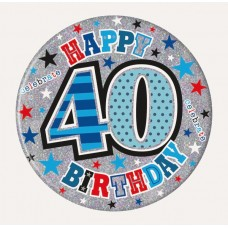 Badge 15cm Happy Birthday Age 40 Male