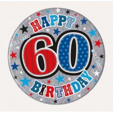Badge Happy Birthday Age 60 Male 15cm