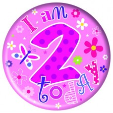 Badge Happy Birthday Age 2 Girl 15cm
