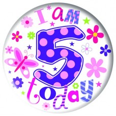 Badge 15cm Happy Birthday Age 5 Girl