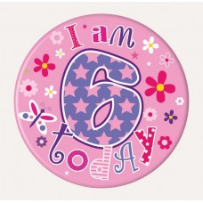 Badge Happy Birthday Age 6 Girl 15cm