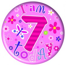 Badge Happy Birthday Age 7 Girl 15cm