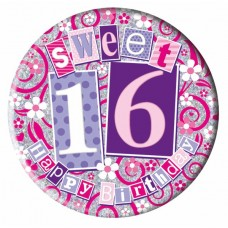 Badge 15cm Happy Birthday Age 16 Girl