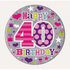 Badge 15cm Happy Birthday Age 40 Female