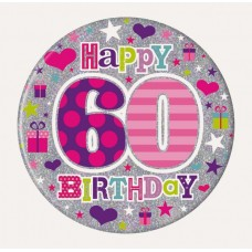 Badge 15cm Happy Birthday Age 60 Female