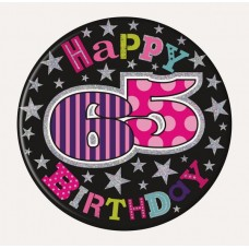 Badge Happy Birthday 65 Female 15cm
