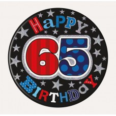 Badge 15cm Happy Birthday 65 Male