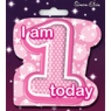 Badge Shaped Happy Birthday Age 1 Girl