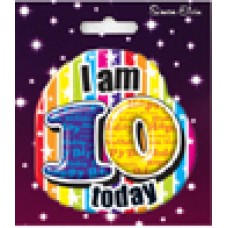 Badge Happy Birthday Age 10 Shaped