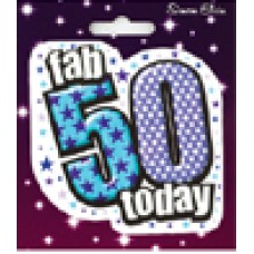 Badge Shaped Happy Birthday Age 50