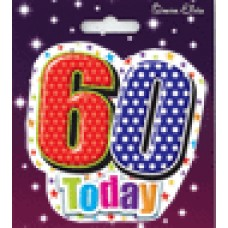 Badge Shaped Happy Birthday Age 60