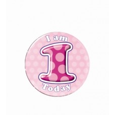 Badge 5cm Happy Birthday Age 1 - Girl