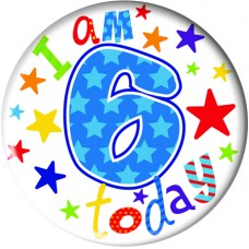 Badge 5cm Happy Birthday Age 6 - Boy