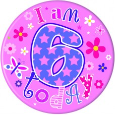 Badge 5cm Happy Birthday Age 6 - Girl