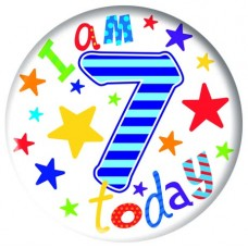 Badge 5cm Happy Birthday Age 7 - Boy