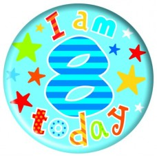 Badge 5cm Happy Birthday Age 8 Boy