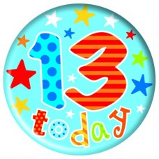 Badge 5cm Happy Birthday Age 13 At Last