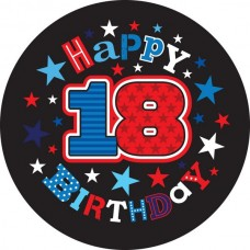 Badge 5cm Happy Birthday Age 18 Male
