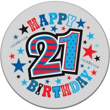 Badge 5cm Happy Birthday Age 21 Male