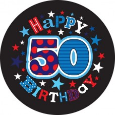 Badge 5cm Happy Birthday Age 50 Male
