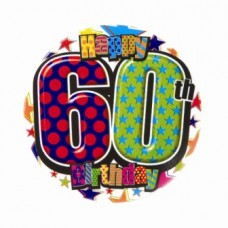Badge 5cm Happy Birthday Age 60 Male