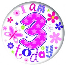 Badge Happy Birthday Age 3 Girl 5cm
